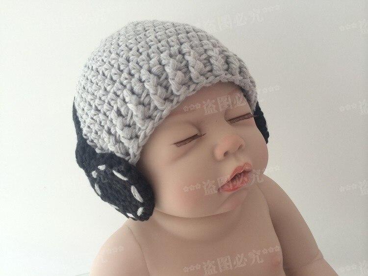 US $8 28 8% OFF|Free shipping Crochet Baby Boy Hat, Headphone Beanie  grey/black Handmade Headphone Hat newborn photography props 100% cotton-in  Hats &
