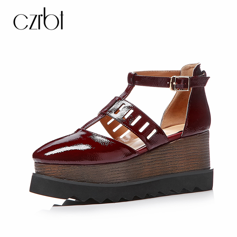 Czrbt 2018 Summer Manual Genuine Leather High Heeled Manual Guide