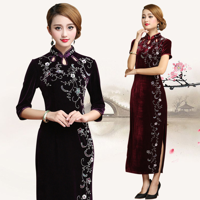 c40a56c494f0 Retro Dressing Gown Traditional Chinese Clothes For Woman Cheongsam Mom  Wedding Qipao Dresses Casual Modern Velour