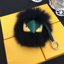 Little Monster Fur Pendant Fashion 15cm Real Fox Fur Pompom Keychain Car Colorful Keyring Cute Ball