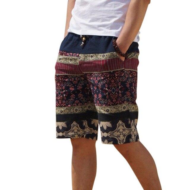Мужская белье шорты личности этническом стиле цвет сшивание 2017 летний новый отдыха диких мужчин свободные цветочные пляжные шорты M-5XL