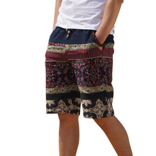 Men's linen shorts personality ethnic style color stitching 2017 summer new leisure wild men loose floral beach shorts M-5XL