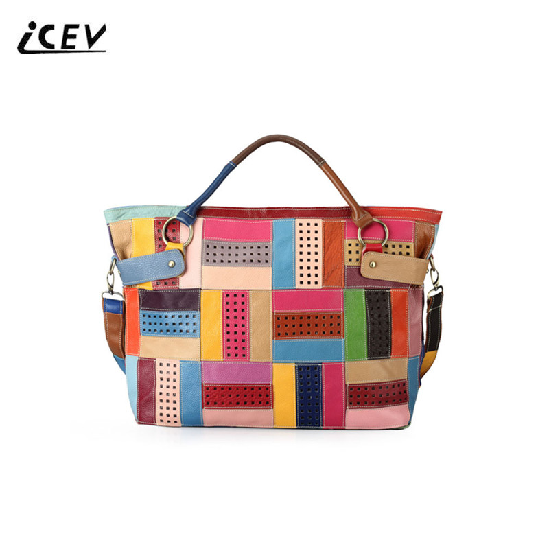 ICEV New Simple Panelled Hollow Out Genuine Leather Handbags Designer Handbags High Quality Women Leather Handbags Ladies Totes icev new brands simple classic female cow leather designer handbags high quality genuine leather handbags women leather handbags