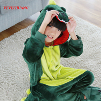 VEVEFHUANG Children Flannel Unisex Dragon Pajamas Girls Pink Green Dinosaur Cosplay Costumes Cartoon Hooded Sleepwear For