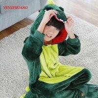 VEVEFHUANG Children Flannel Unisex Dragon Pajamas Girls Pink Green Dinosaur Cosplay Costumes Cartoon Hooded Sleepwear For