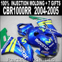 Hot sale injection molded for 2004 2005 HONDA CBR 1000 RR fairings blue green yellow movistar fairing cbr1000rr 04 05 RJ785