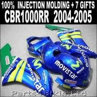Hot sale injection molded for 2004 2005 HONDA CBR 1000 RR fairings blue green yellow movistar fairing cbr1000rr 04 05 RJ785