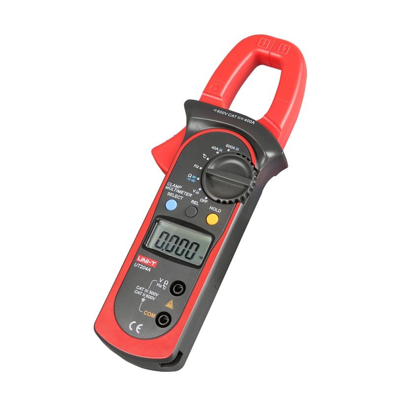 UT204A DC/AC Voltage Current Digital Clamp Meter LCD Digital Auto Range Clamp Multimeter Capacitance, Temperature Measurement mastech my68 handheld lcd auto manual range dmm digital multimeter dc ac voltage current ohm capacitance frequency meter