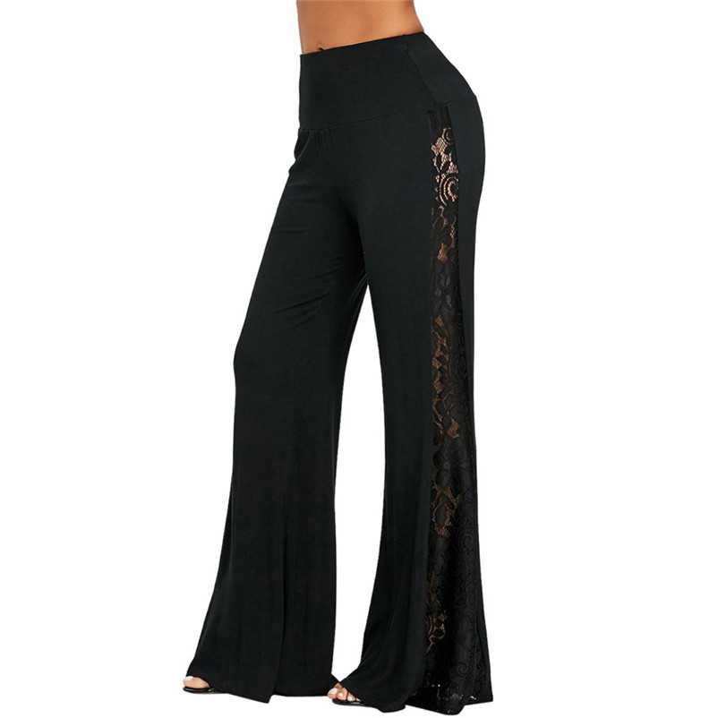 Fashion Women   Pants   High Waist solid Lace Trousers solid black color Insert   Wide     Leg     Pants   Daily Causal Loose Trousers #25A