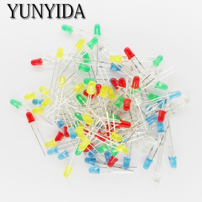 100pcs 3mm LED Light Assorted Kit DIY LEDs Set White Yellow Red Green Blue 5kinds X 20pcs=100pcs