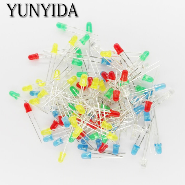 100pcs 3mm LED Light Assorted Kit DIY LEDs Set White Yellow Red Green Blue 5kinds X 20pcs=100pcs