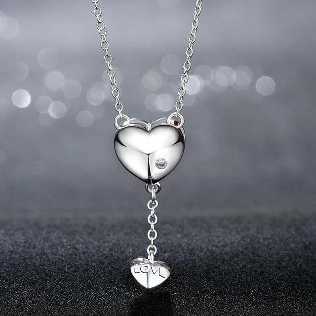 Купить женское ожерелье с кулоном в виде сердца кристаллами картинки
