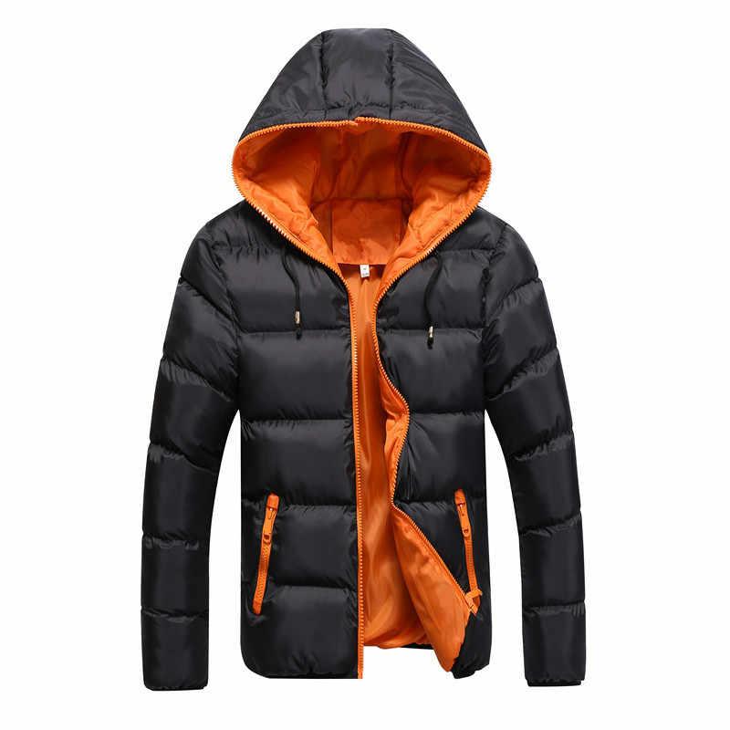 冬のジャケット男性カジュアル新しいフード付き厚いパッド入りのジャケットジッパースリム男性と女性コート男性パーカー生き抜く暖かいコート