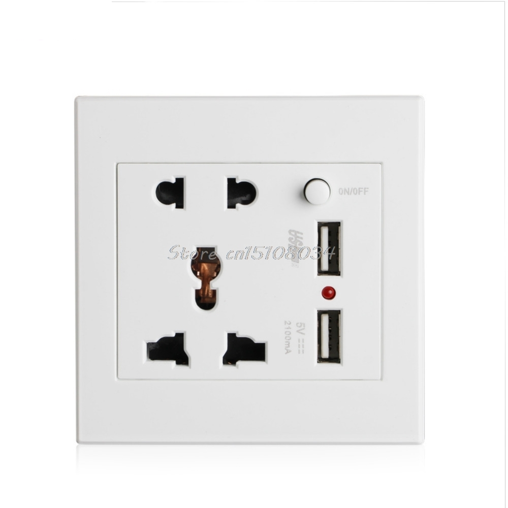 socket 2 usb switch wall socket charger ac dc power adapter plug outlet panel s08 drop ship in. Black Bedroom Furniture Sets. Home Design Ideas