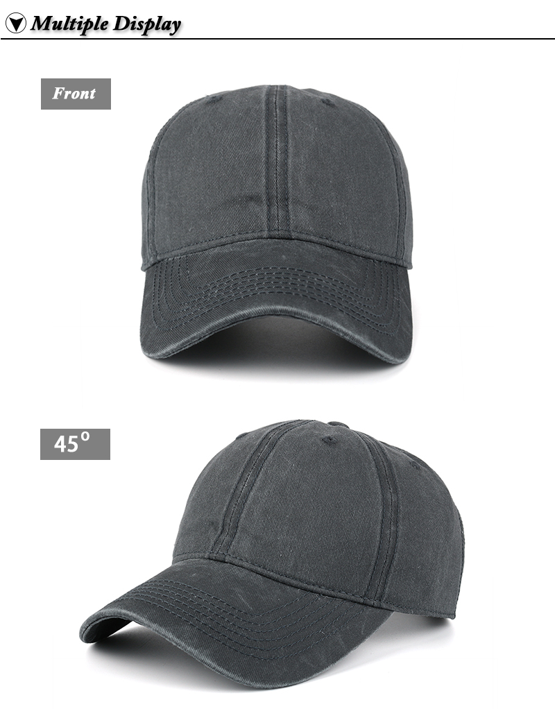 Pre-washed Cotton Denim Baseball Cap - Front and Front Angle Views
