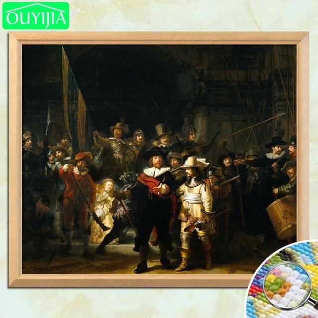 """Rembrandt Słynnego Obrazu """"The Night Watch"""" 5D DIY Diament Malowanie Pełna Plac Diament Haft Dżetów Mozaika Obraz"""