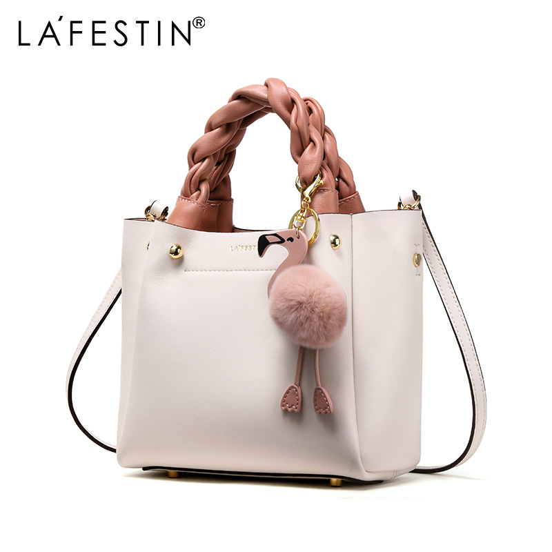 LAFESTIN Handbag for Women Shoulder Bag Genuine Leather Fashion Flamingo Hairball Tote Bag Luxury Designer Bolsa