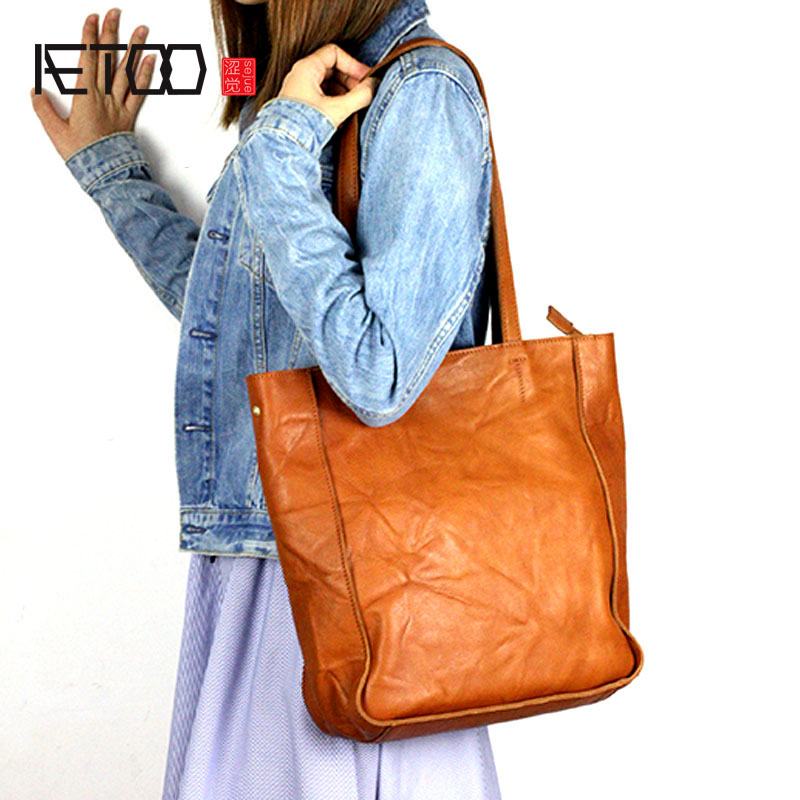 AETOO Europe and the United States casual leather handbags simple atmospheric pure leather retro shoulder bag female bag soft europe and the united states classic sheepskin checkered chain tide package leather handbags fashion casual shoulder messenger b