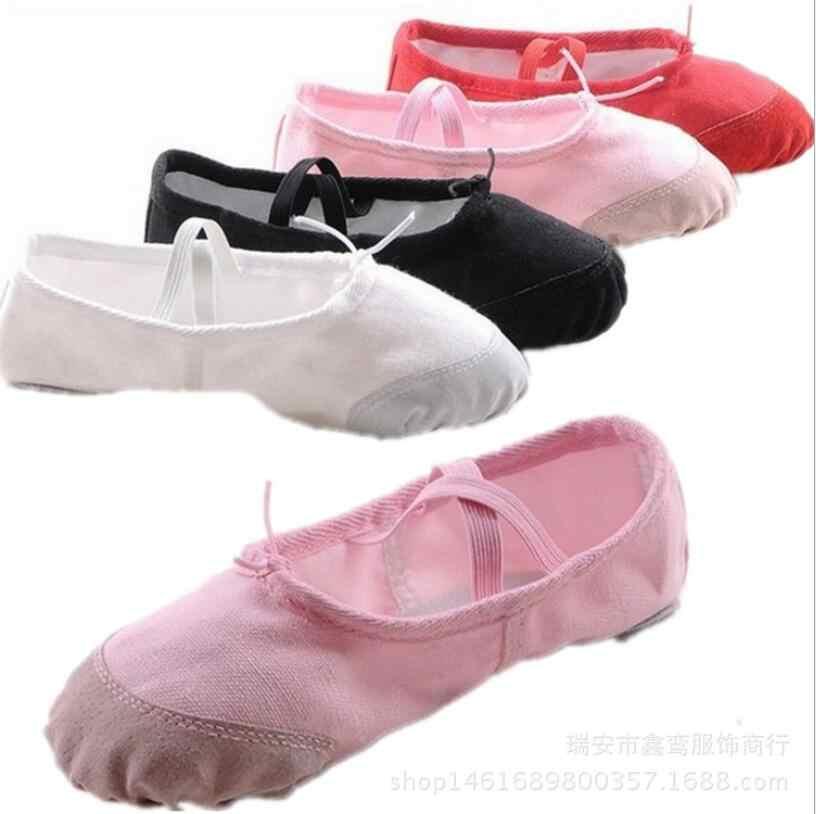 Size22 ~ 44 Thể Dục Nhịp Điệu Giày Cô Gái Mềm chia Duy Nhất Nhảy Múa Ba Lê Giày Bông Tập Thể Dục Toddler Canvas Thực Hành Phòng Tập Thể Dục Dép