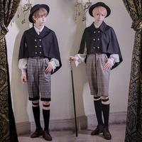 Gothic Steampunk Boy Lolita Set Boys Costume Harajuku Suit Cloak Shirt Shorts Japanese School Uniform Cosplay Lolita Dresses