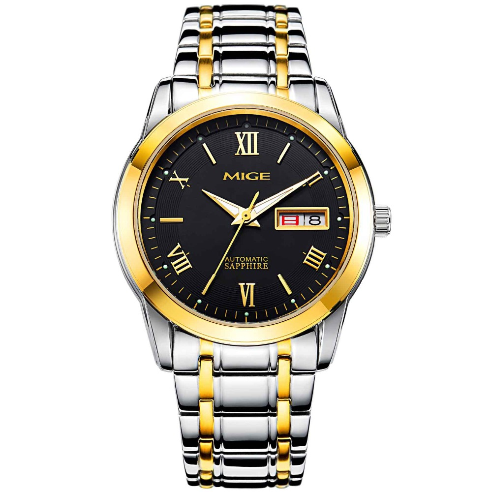 TOP BRAND MIGE Round Mechanical AUTO Date Business Stainless Steel Band BLACK GLODEN Water Proofing