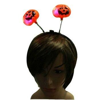 Kid Halloween Raggiante Flash Fascia Decorazione di Zucca Festival Fascia Dei Capelli Campana Piuma Jack-O-lanterne/Accessori