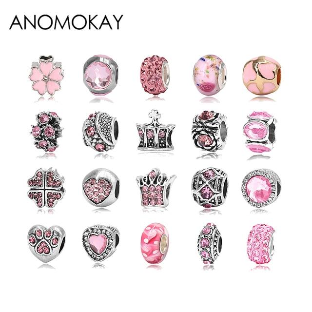 2PCS/LOT Pink Charms fit Pandora Bead Bracelet Flower Crown Heart Flower Crystal Enamel Charm for DIY Jewelry Making
