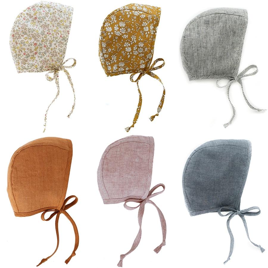 Newborn Baby Hat Floral Vintage Aviator Photography Linen Strap Cotton Beanie Boys Girls Props Cap Kids Bonnet Children's hat