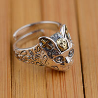 GZ 925 Sterling Silver Ring Cat Anillos Vintage Classic Open Size Adjustable S925 Thai Silver Rings