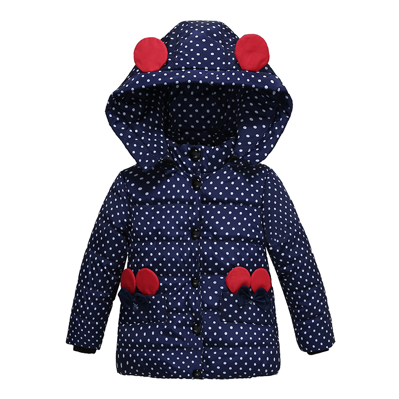 New Minnie Baby Boys Girls Hooded Jacket Coat Winter Kids Boy Windbreaker Plus Thicken Velvet Outerwear Clothes For 2 - 4 years
