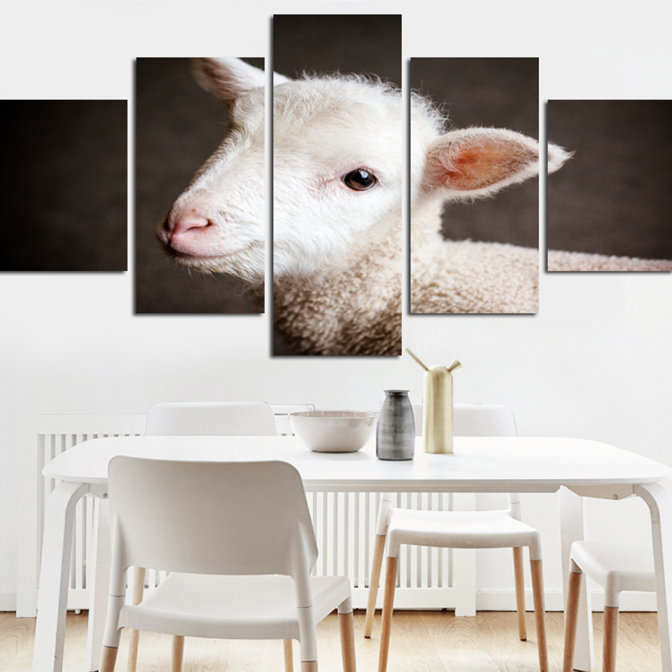 Home Decor Canvas Painting Animal HD Prints 5 Pieces Sheep
