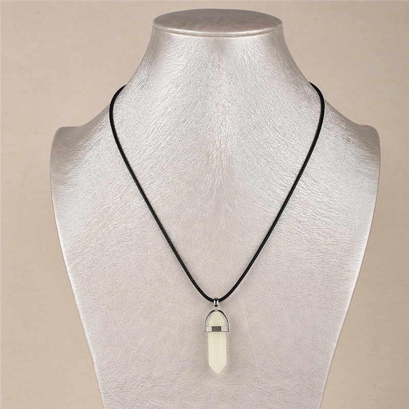 新しい発光石蛍光六角柱ネックレス天然水晶宝石ストーンペンダントチェーンネックレスダーク