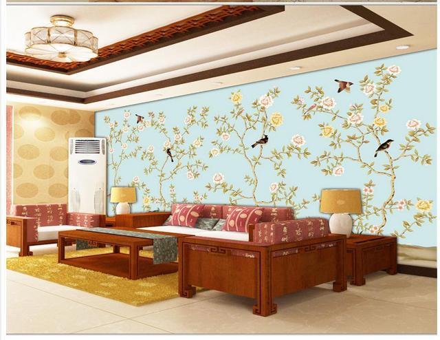 Carta Da Parati Per Soggiorno Classico : D personalizzato wallpaper beautiful flower uccelli classico