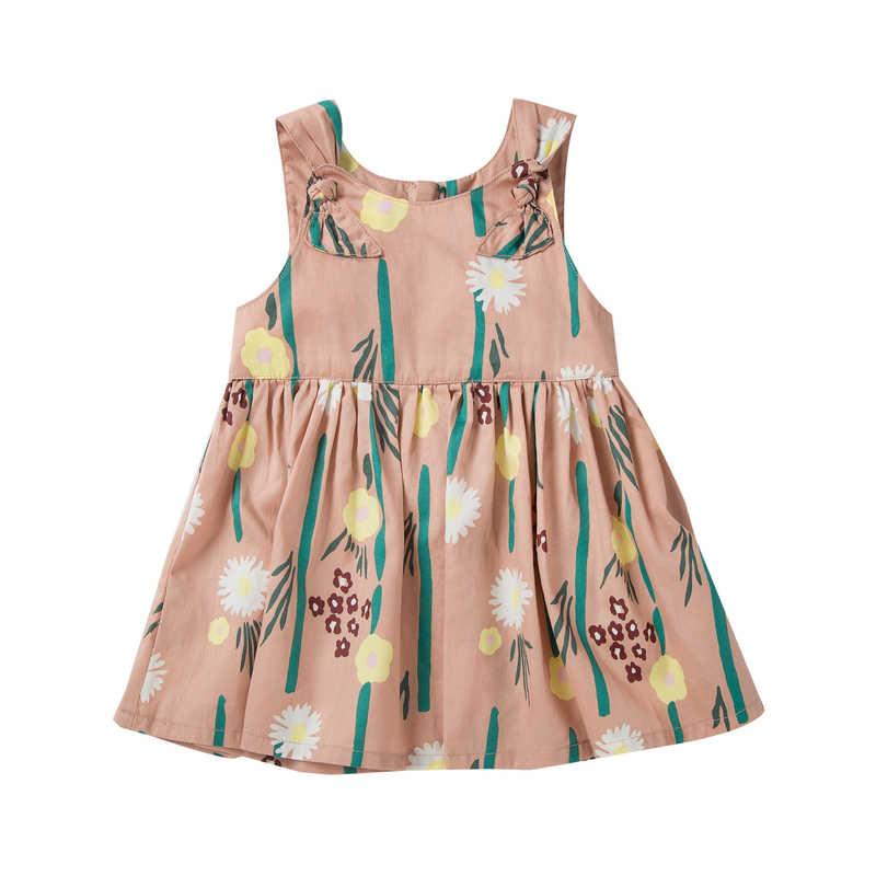 Мини-платье из 100% хлопка для маленьких девочек, платье без рукавов с цветочным принтом и бантом на плече, платья трапециевидной формы для новорожденных