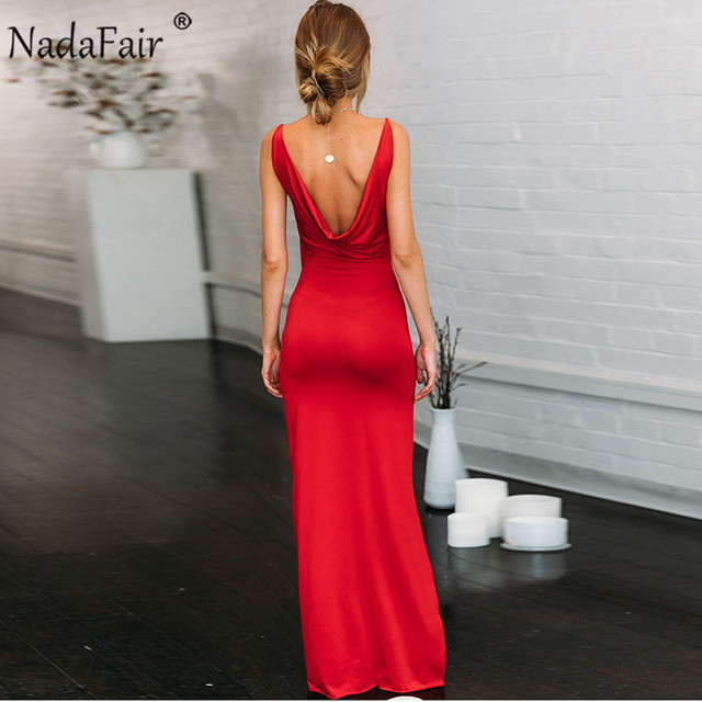 V Neck Maxi Party Dresses Women Red Long Dress Backless Split Spaghetti Strap Bodycon Club Summer Sexy Dress Vestidos 2