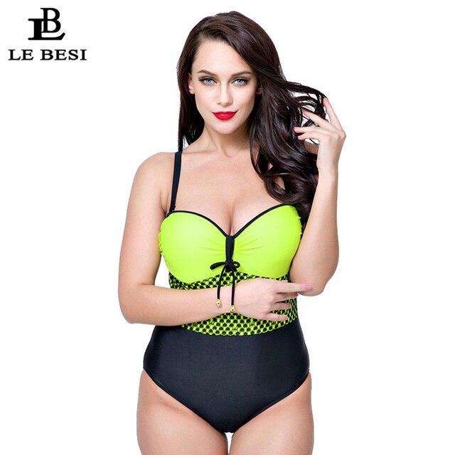 c3c100c551b LEBESI 2017 XL-5XL Plus Size Women Swimwear One Piece Swimsuit Beach Wear  Monokini Print String Bandage Push Up Bathing SuitUS  31.25