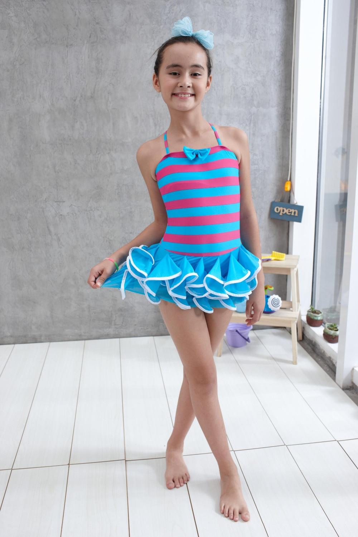 One Piece Girls Swimwear Child Bathers Teen Swimwear Blue -7229