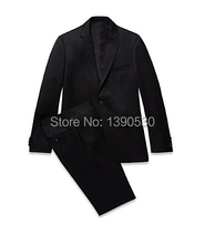 Top Quality 100% wool custom made solid black notch lapel single vent two buttons two piece business suit for man!!