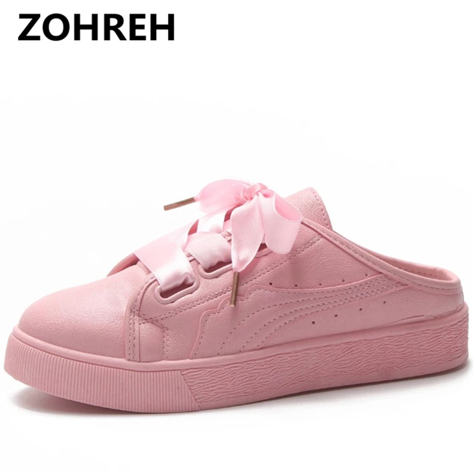 ZOHREH 2018 Sweet Ribbon Women Small White Shoes Female Laced Leather Shoes Women Causal Flats Shoes Student Board Plate Shoes