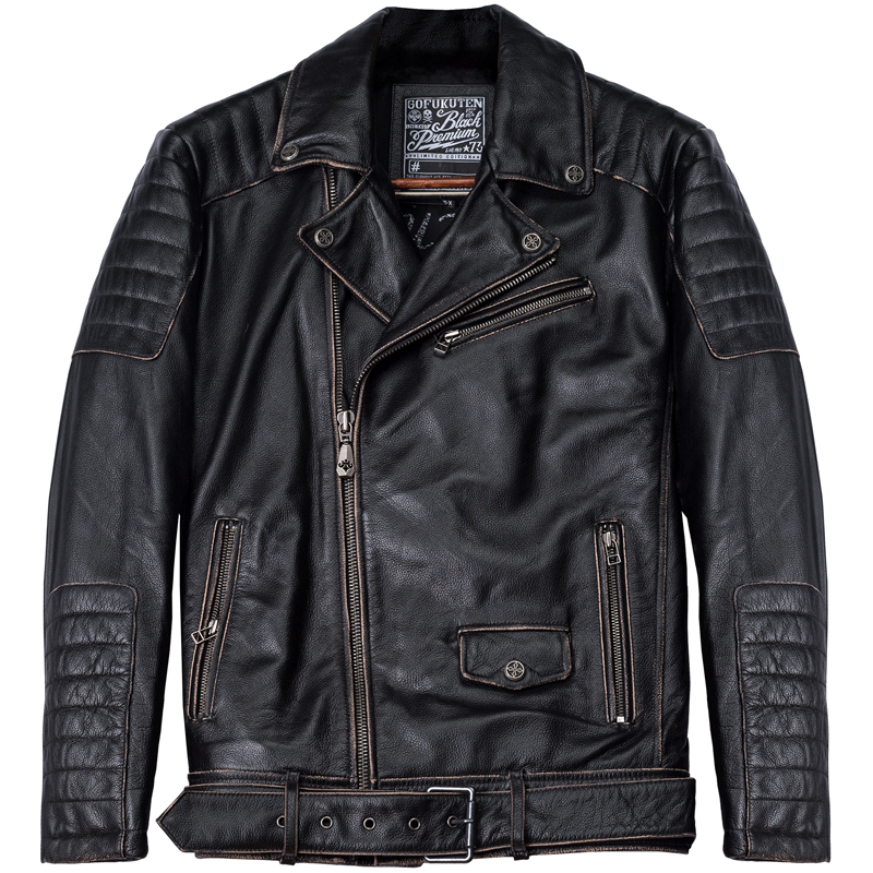 Jacket American Coat Biker's Motorcycle Vintage Thick Cowhide Genuine Black Slim Plus-Size
