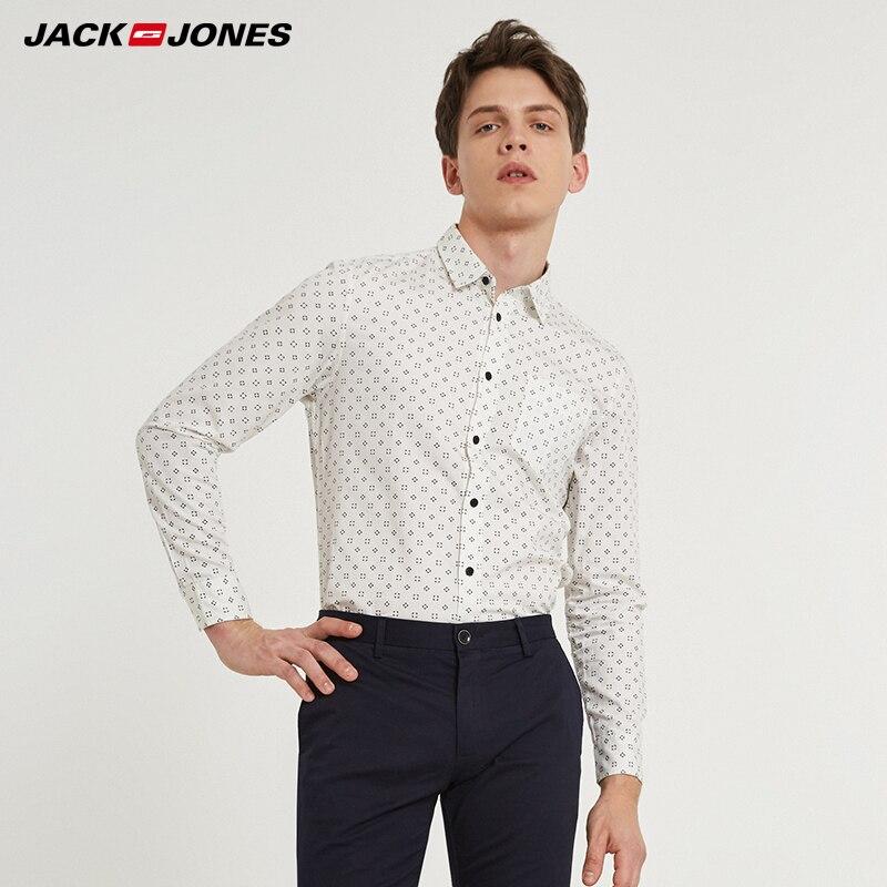 JACKJONES Marke Männer HEIßE Beiläufige shirts Männlichen dünne hemden regelmäßige baumwolle 100% Männlichen tops | 216105034