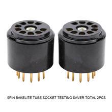 2 pçs 9pin baquelite tubo soquete teste saver para 12ax7 el84 5670 6dj8 12au7 12at7 6922 vintage amplificador de áudio alta fidelidade diy