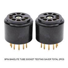 2 uds 9PIN toma de tubo de baquelita pruebas protector para 12AX7 EL84 5670 6DJ8 12AU7 12AT7 6922 Vintage amplificador de Audio HiFi DIY