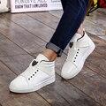 Горячие Продажи Головой Леопарда Хип-Хоп Обувь Мужчины Белый ПУ Танцевальная Обувь заклепки Высокие Увеличение Мужчины Высокого Топы Sapatos Masculinos