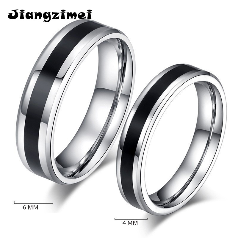 36pcs/lot ( Mixed size ) Black and white simple style Titanium Steel Ring for Men silver plated Stainless steel finger ring