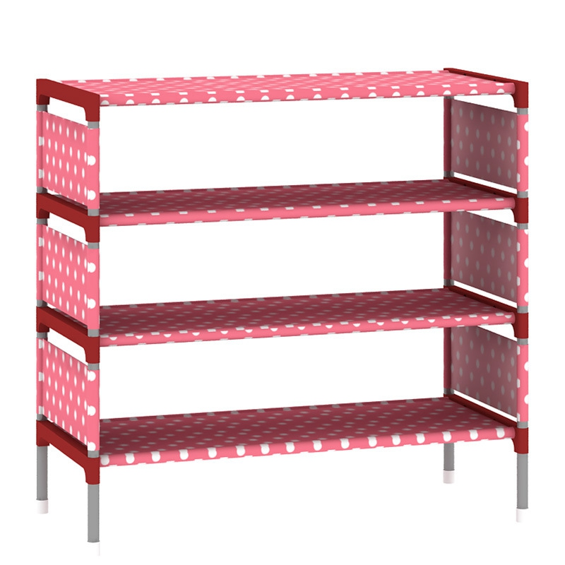 Non Woven Simple Shoe Cabinet Four Floors Receive Shoe Rack Storage Large Capacity Home Furniture Dormitory Shoes Shelf Holder reinforcing steel double simple shoe storage rack assembly cheap thicker dust specials