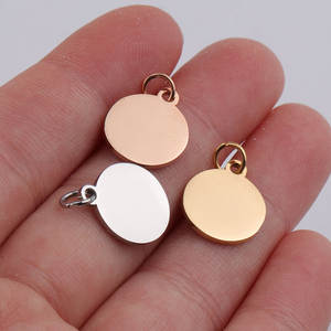 Stainless Steel Round Charms Circle Blank Metal Tag 50pcs