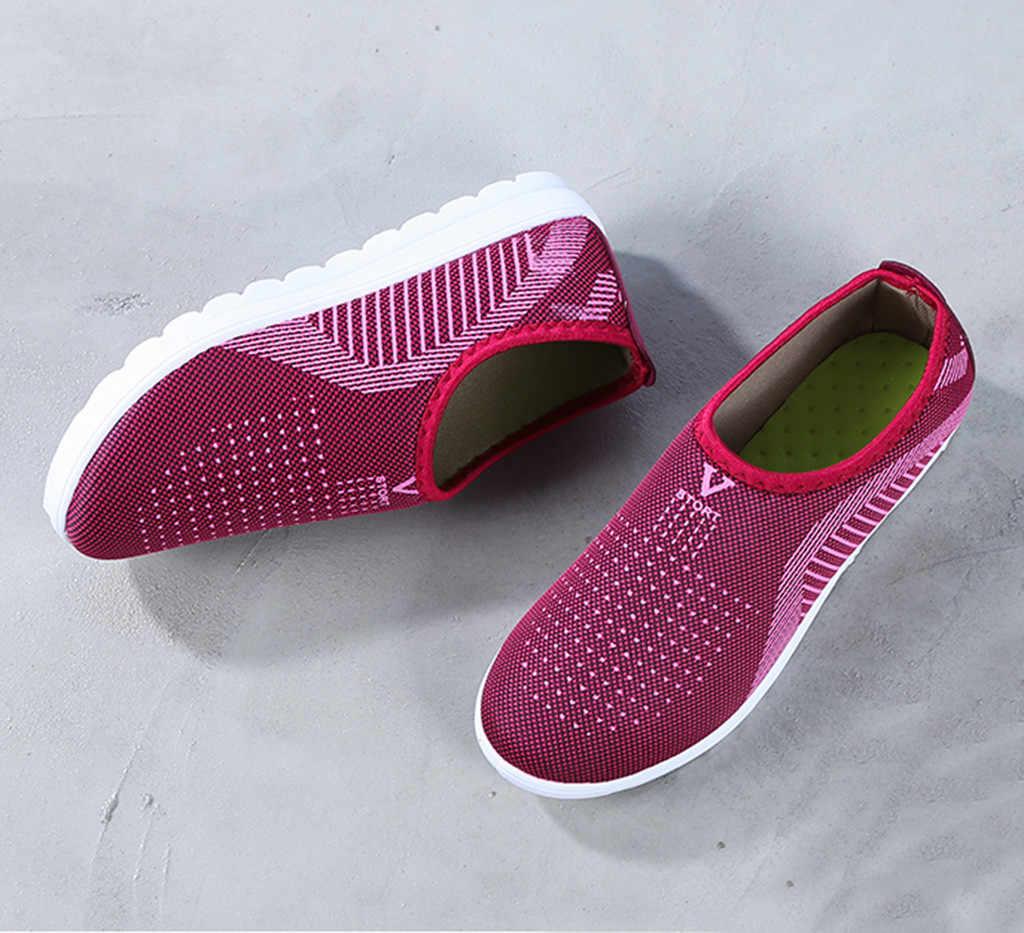 Zapatillas planas de malla de algodón informal con rayas para caminar, mocasines, zapatos suaves, damas de schoenen женские # XB30
