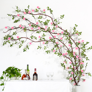 Image 2 - Erxiaobao flores artificiales largas de seda falsa, rosa, flor, enredadera, bastón de ratán, fiesta en casa, boda, pared, puerta, estantería, decoración