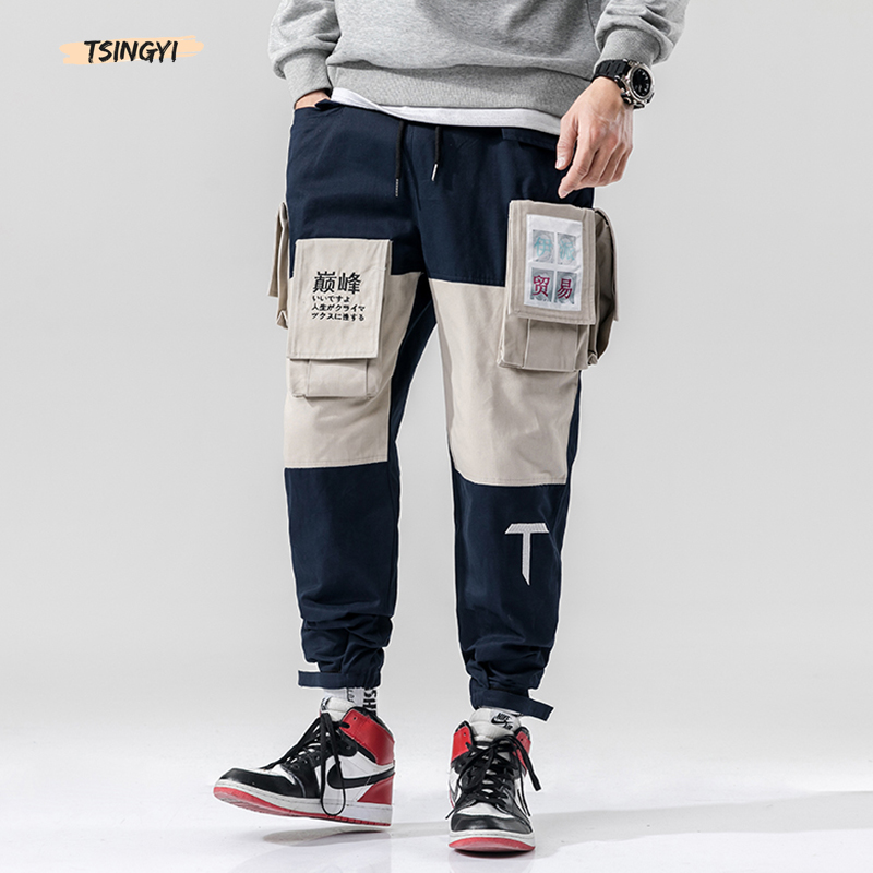Tsingyi 5xl Multi-Pocket Cargo Pants Men Letter Embroidery Streetwear Pattern Joggers Army Green Spliced Ankle-Length Trousers